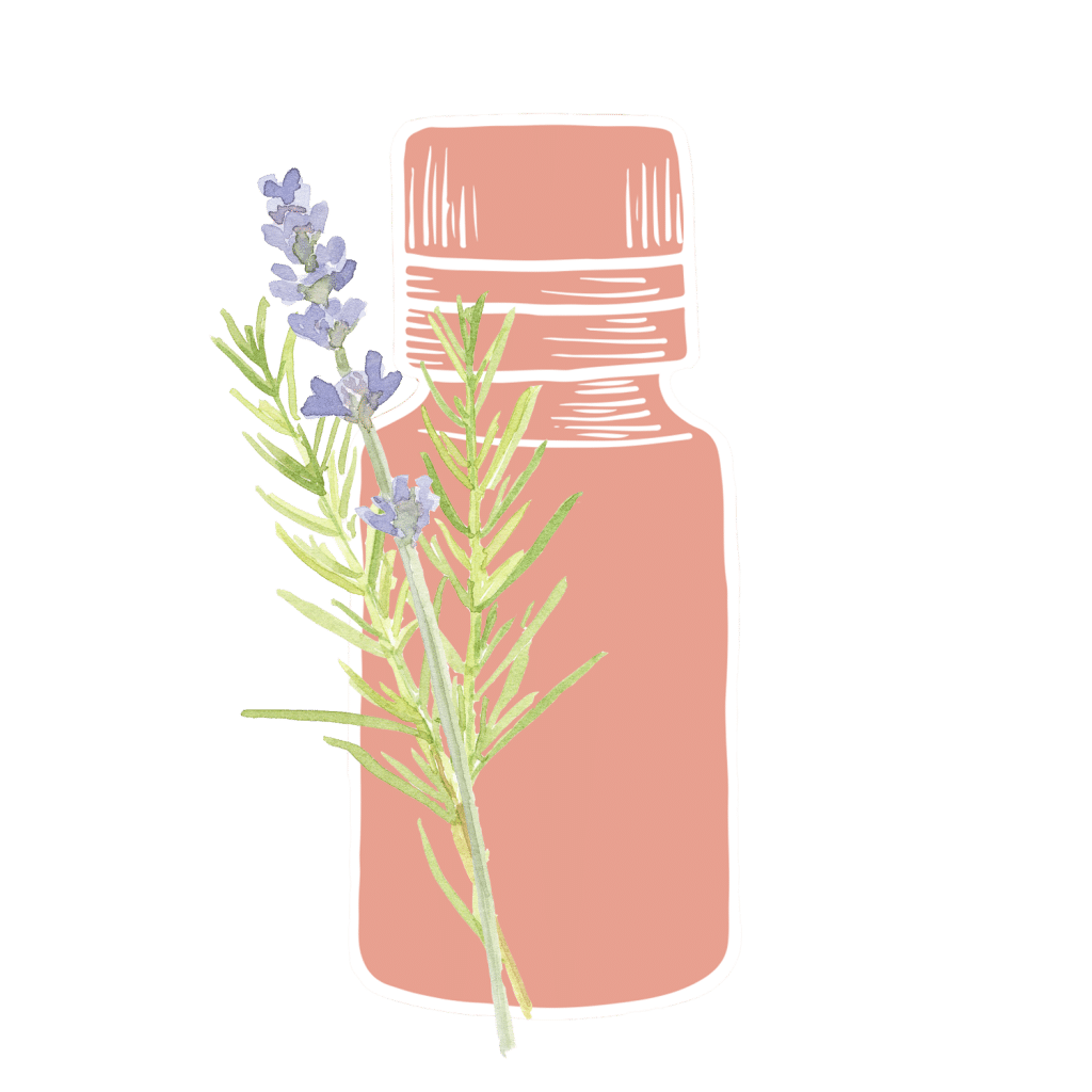 Coral Essential Oil Bottle with a lavender leaf